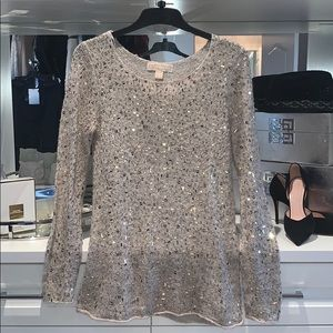 Michael Kors mohair and gold knit top